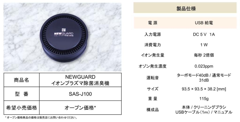 携帯用、車載用、卓上用のイオンが田空気清浄機New Guard製品使用